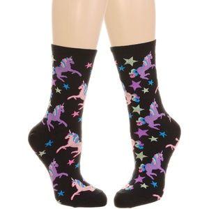 Magical Unicorns Crew Socks in Black